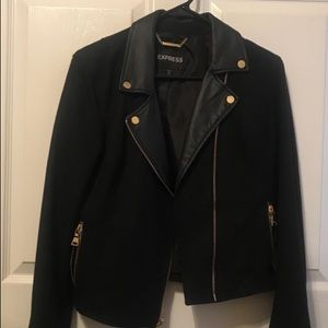 Semi leather jacket has some cloth material
